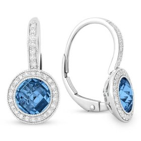 E1065 Swiss Blue Topaz Diamond Drop Earrings