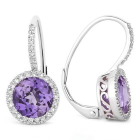 E10591 Iolite & Diamond Earrings