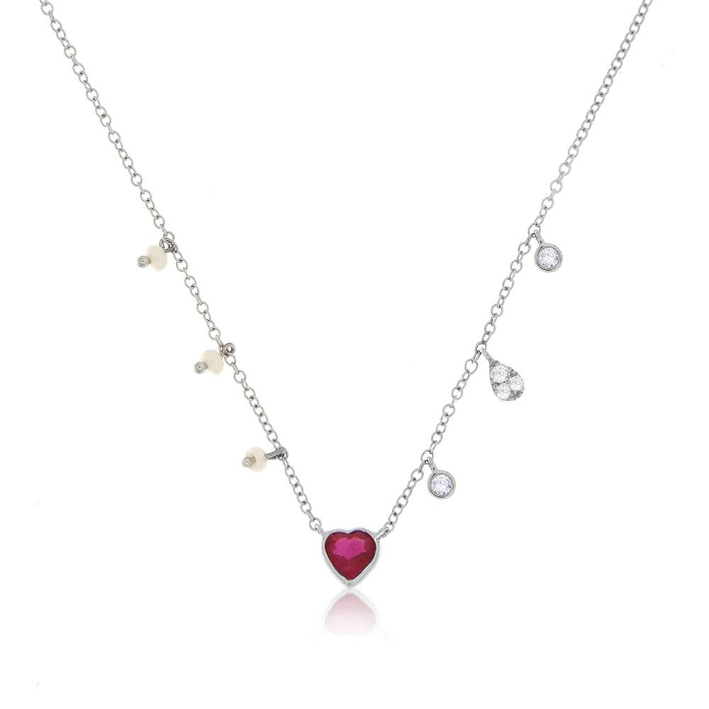 Meira T Ruby White Gold Heart Necklace
