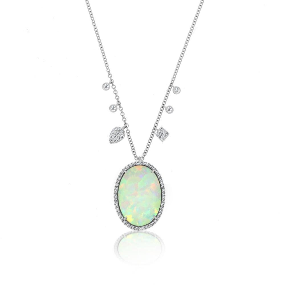 Meira T Statement Opal Oval and Diamond Necklace