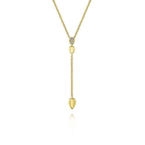 14kt Yellow Gold Diamond Teardrop Y Knot Necklace