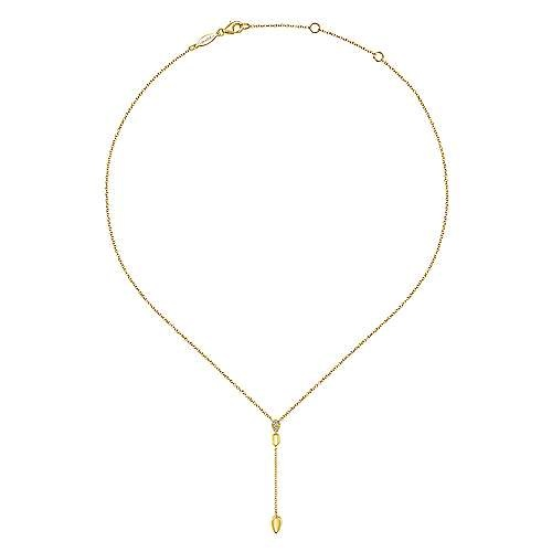 Gabriel & Co 14kt Yellow Gold Diamond Teardrop Y Knot Necklace