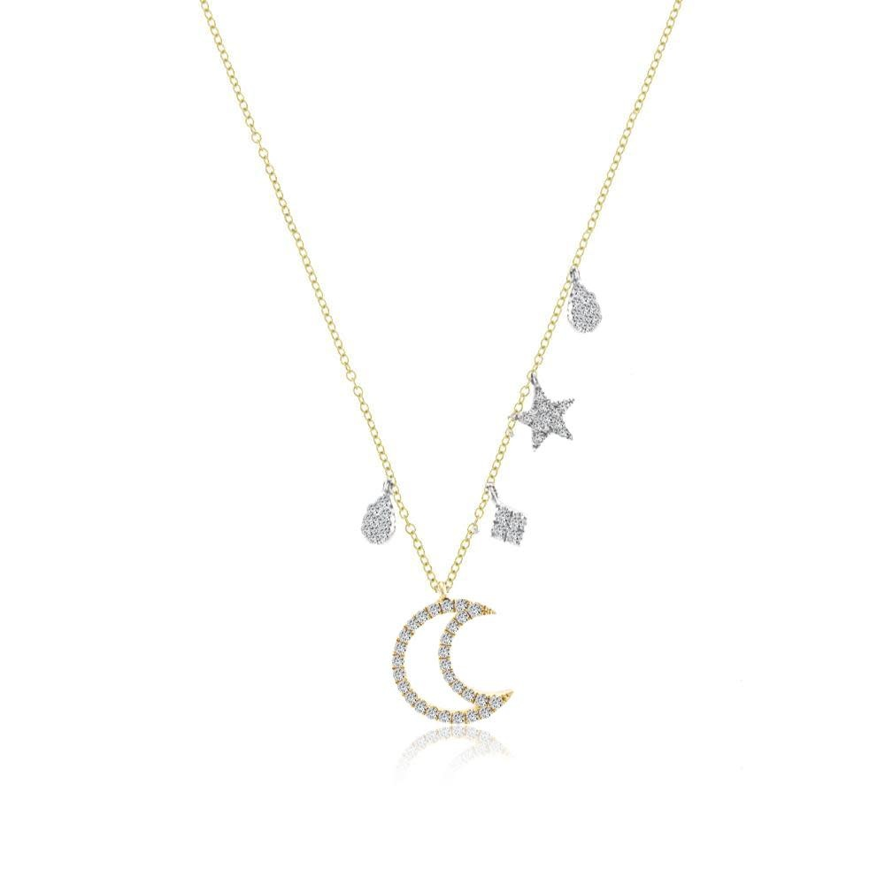 Meira T N11887 Moon and Star Diamond Necklace