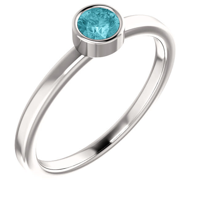 14kt White Gold Blue Zircon Bezel Ring