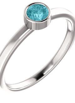 14kt White Gold Blue Zircon Bezel Ring