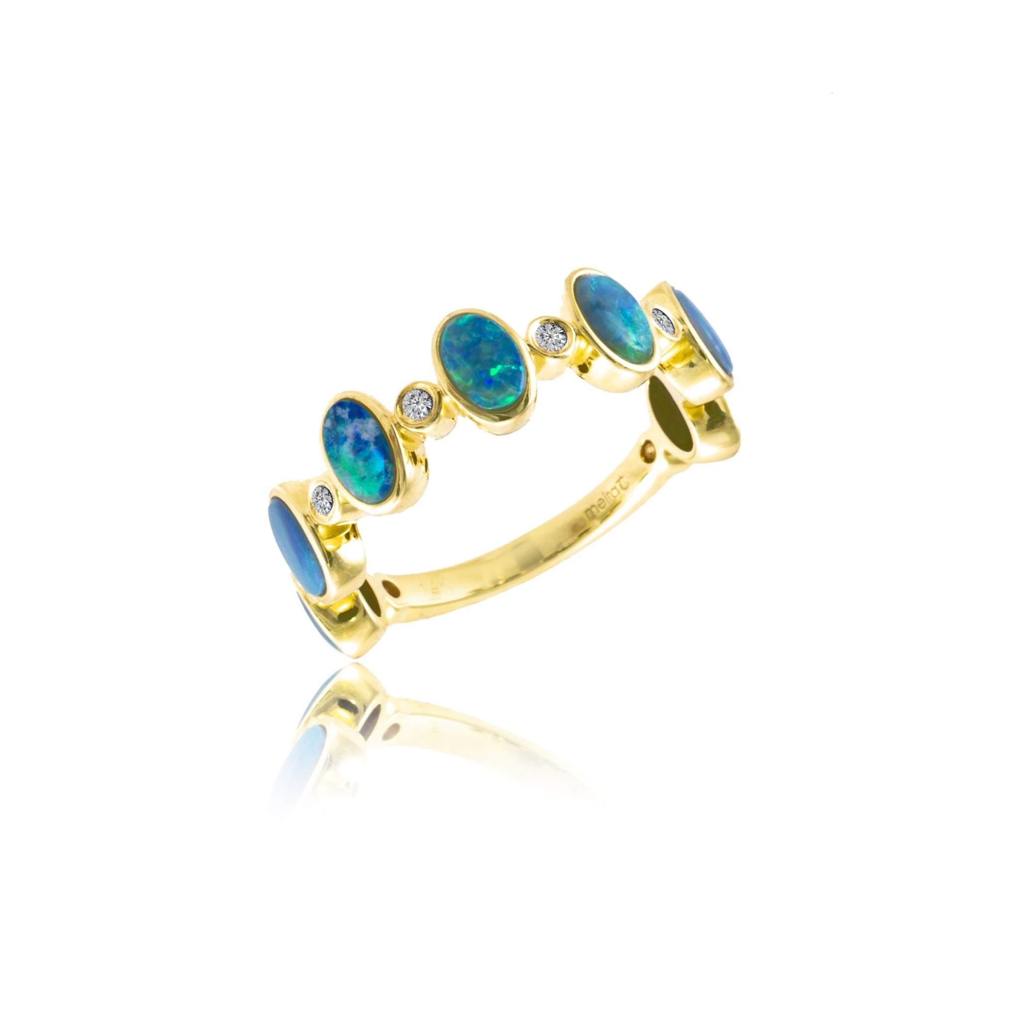 14kt Yellow Gold Opal Half Band