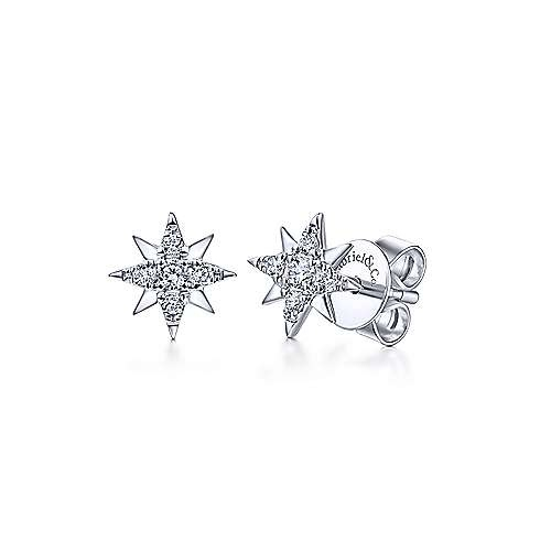 14kt white gold star stud earrings