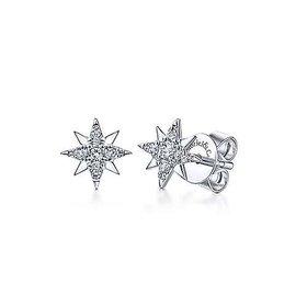 14kt white gold star stud earrings