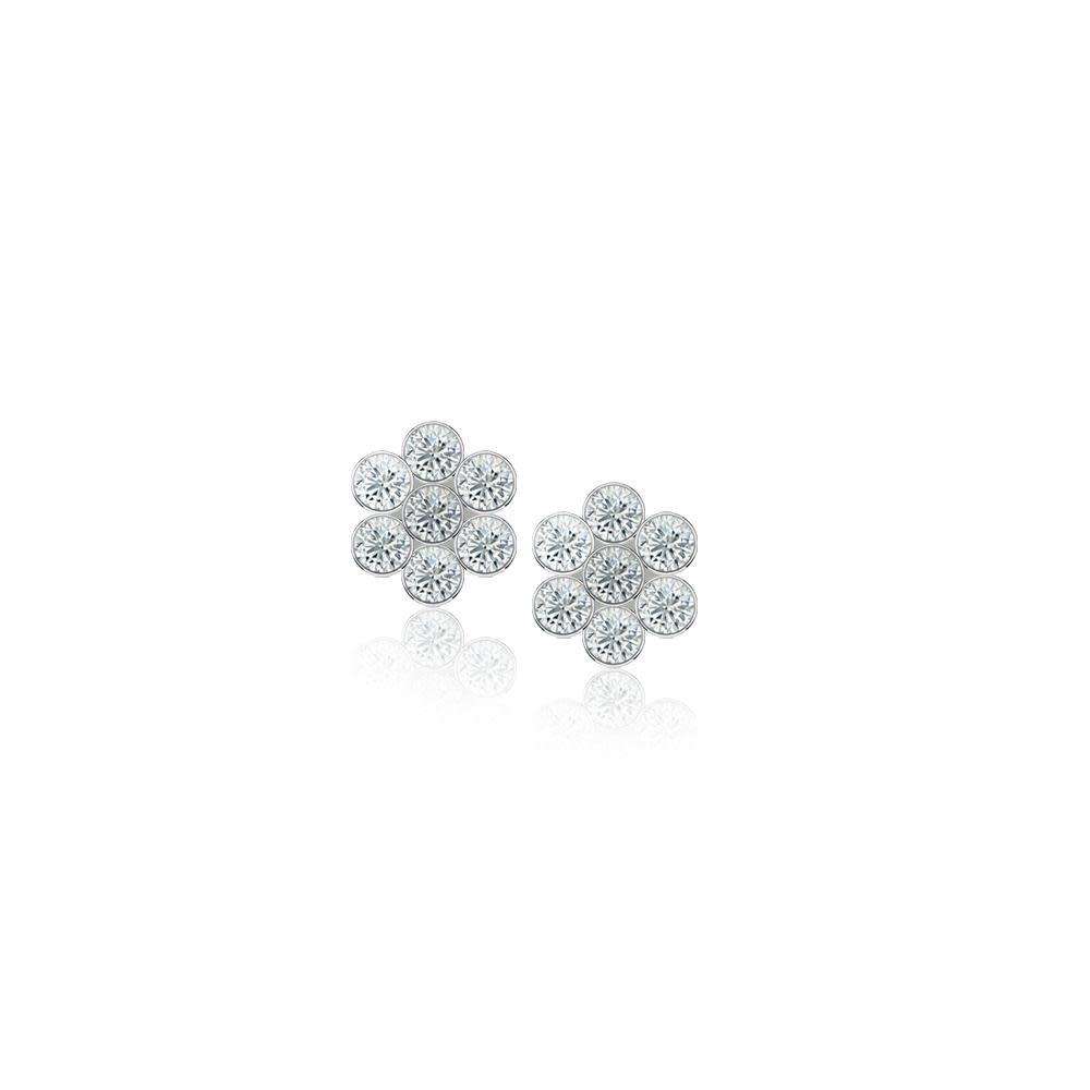 Meira T 14kt White Gold Diamond Flower Stud