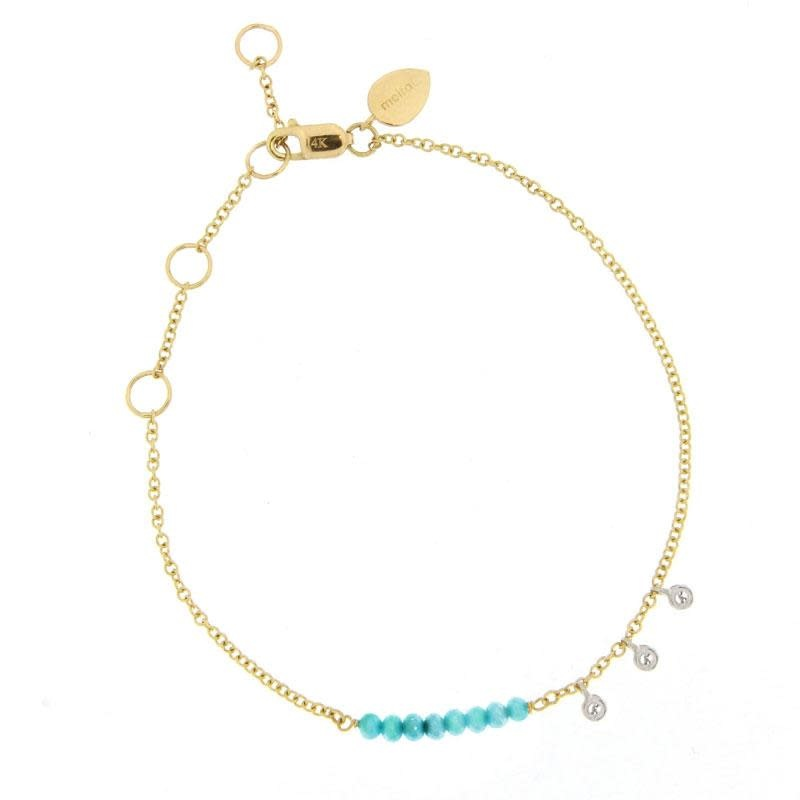 Turquoise Bead Bracelet with Diamond Bezels