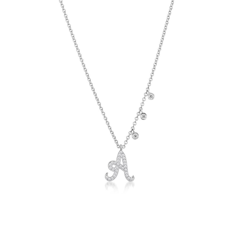 Meira T Diamond Initial Necklace with off centered diamond charms
