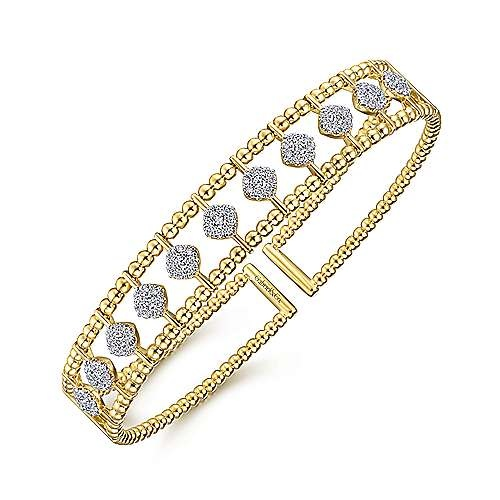 Gabriel & Co BG4232 Wide Diamond Bangle Bracelet