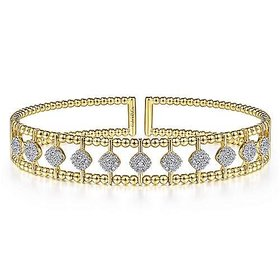 BG4232 Wide Diamond Bangle Bracelet