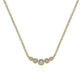 NK5424 5 stone bezel diamond necklace