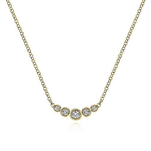 NK5424 5 stone bezel diamond necklace
