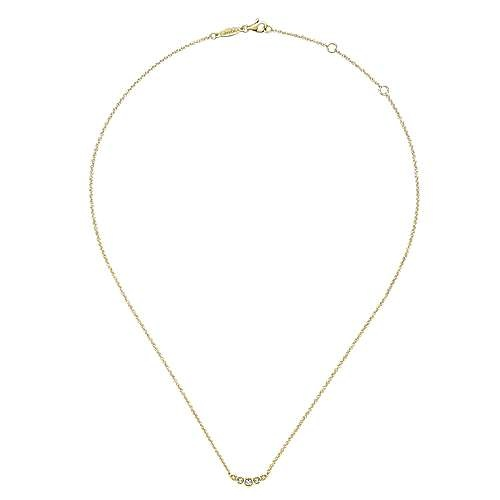 Gabriel & Co NK5424 5 stone bezel diamond necklace
