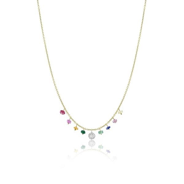 Meira T Rainbow Charm Necklace with Diamonds