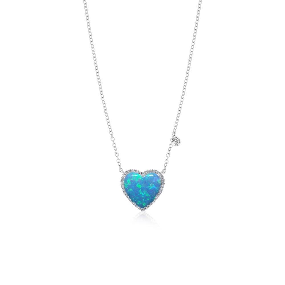 Meira T Blue Opal Heart Necklace