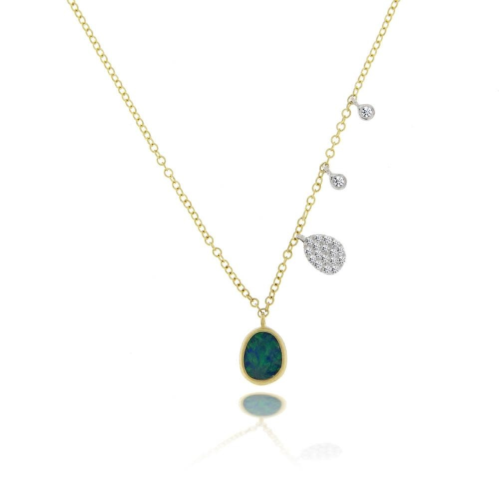 Yellow Gold Opal Necklace with Diamond Side Charms