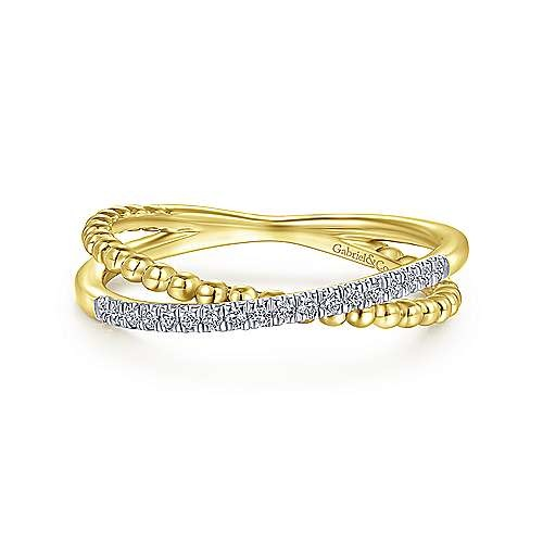 14kt yellow gold beaded pave band