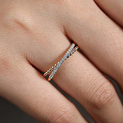 Gabriel & Co 14kt yellow gold beaded pave band