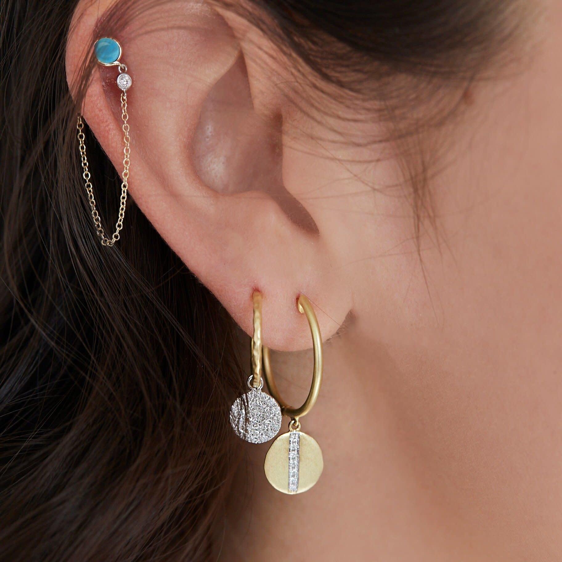 Meira T Gold Charm Hoop Earring