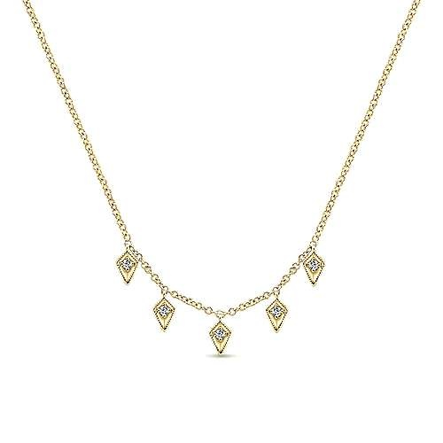 14kt Gold Kite Shaped Diamond Station Necklace
