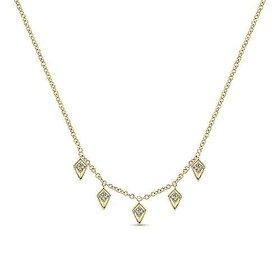 14kt Gold Kite Shaped Diamond Station Necklace