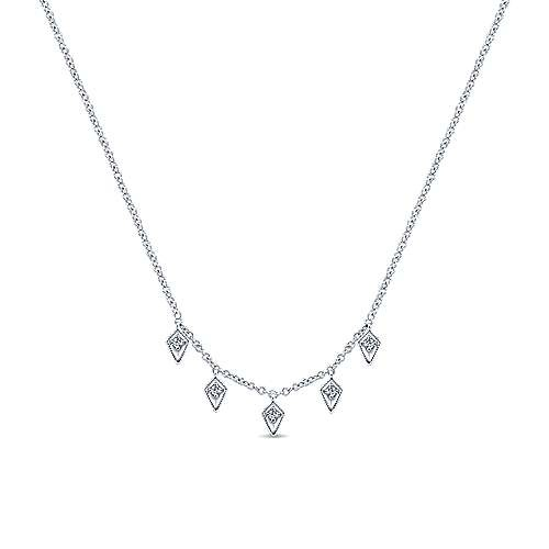 Gabriel & Co 14kt Gold Kite Shaped Diamond Station Necklace