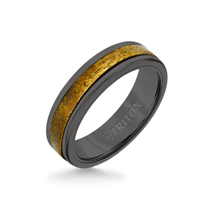 Triton 11-6083B Black Tungsten with wood inlay ring