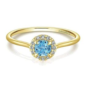 LR51264 Swiss Blue Topaz & Diamond Ring