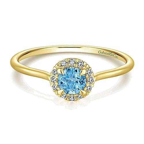 LR51264 Swiss Blue Topaz & Diamond Ring