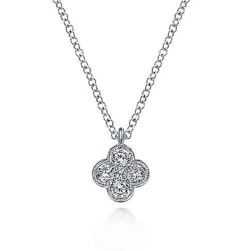 Gabriel & Co NK6082 Diamond Clover Pendant Necklace
