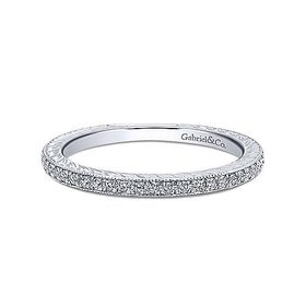 LR4793 Slim Engraved Pave Diamond Stackable Band