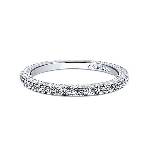 Gabriel & Co LR4793 Slim Engraved Pave Diamond Stackable Band