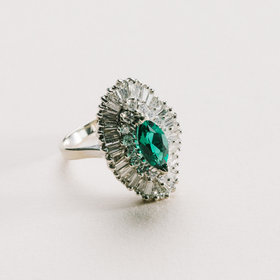 Estate 2 Carat Total Diamond & 1.50 Carat Emerald Ring