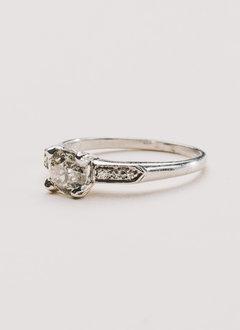 0.70 carat European cut diamond in Platinum diamond setting