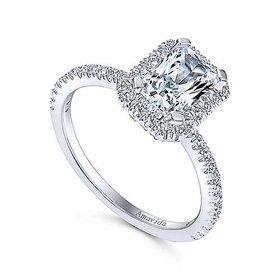 ER12022 Platinum Rectangular Halo Engagement Ring Settting