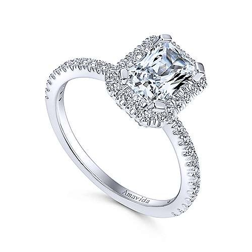 ER12022 Platinum Rectangular Halo Engagement Ring Settting