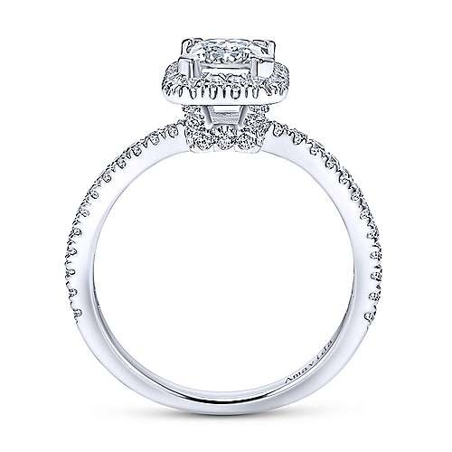 Gabriel & Co ER12022 Platinum Rectangular Halo Engagement Ring Settting