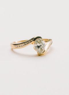 Estate Bypass Oval Diamond Ring