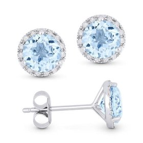 E1023 Blue Topaz & Diamond Halo Earrings