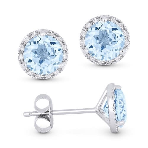 Madison L E1023 Blue Topaz & Diamond Halo Earrings