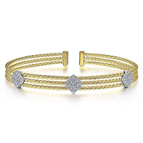 BG4233 3 Row Diamond Station Bangle Bracelet