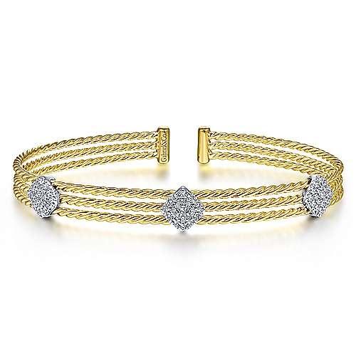 Gabriel & Co BG4233 3 Row Diamond Station Bangle Bracelet