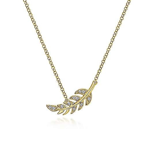 Gabriel & Co 14kt Diamond Leaf Pendant Necklace