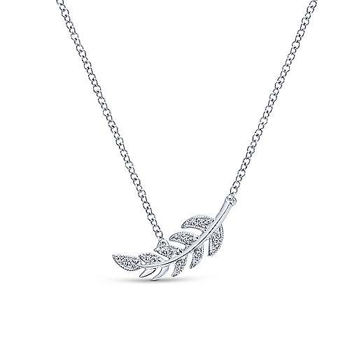 14kt Diamond Leaf Pendant Necklace