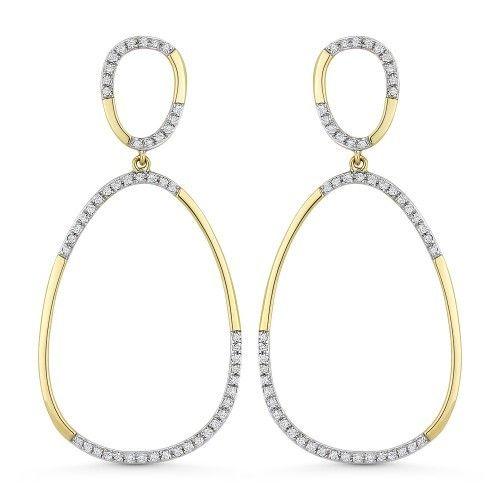 Madison L DE11279 Gold diamond hoop drop earrings