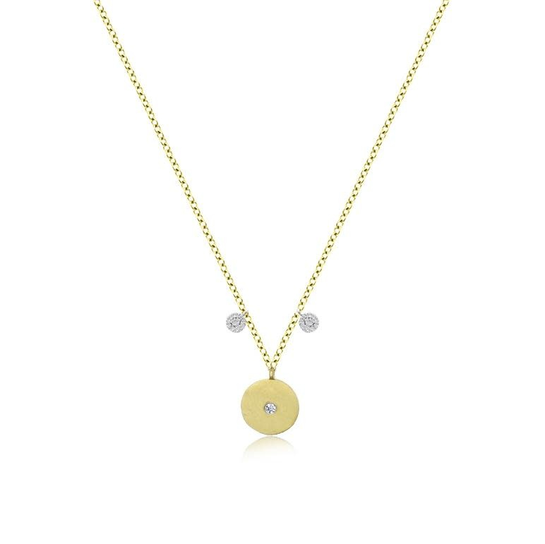 Meira T Yellow Gold Dainty Disc Necklace