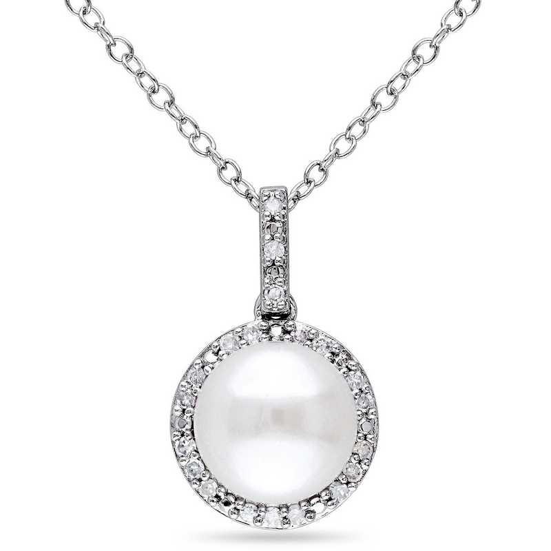 Lau P0091P pearl and diamond halo pendant necklace